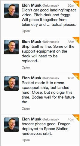 Elon about first stage landing CRS-5
