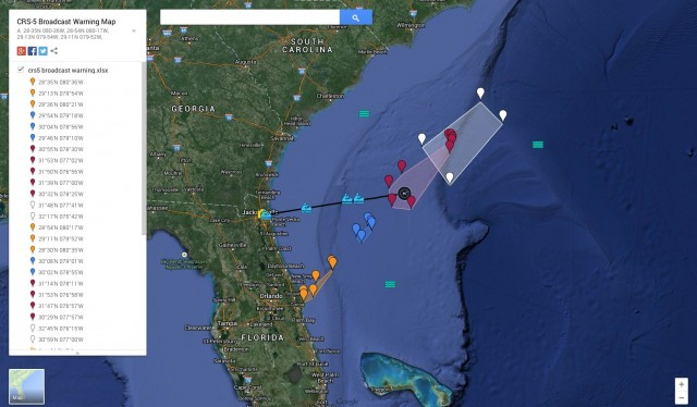 Position of SpaceX barge for CRS-5 mission